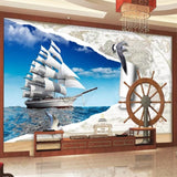 sailing vessel nautical map wall mural