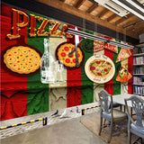 pizza theme wall mural