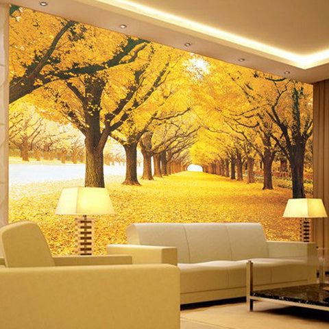 golden leaves forest wallpaper