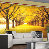 yellow leaves forest wall mural