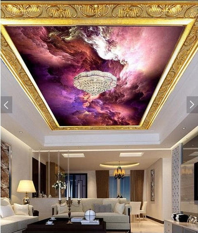 purple abstract clouds ceiling mural