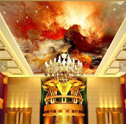 multi-color abstract sky ceiling mural