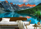 mountain forest lake wallpaper