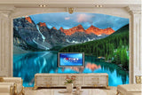 mountain forest lake wall mural