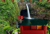 single waterfall scene mural
