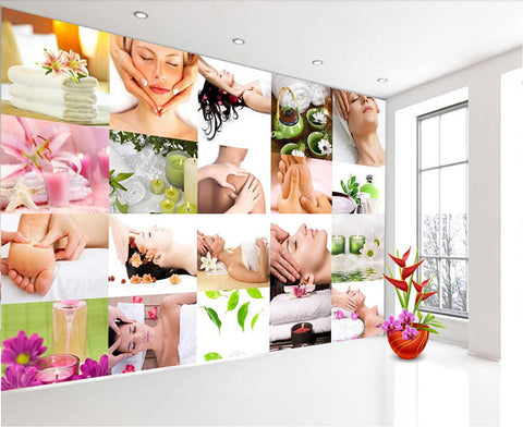 massage therapy photo collage mural