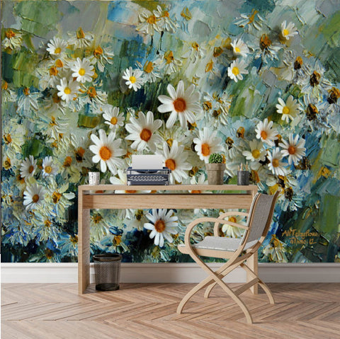white daisies painting wallpaper