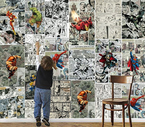 comic strip superhero wall mural