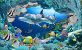 dolphins and tropical fish wallpaper