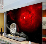 red galaxy wall mural