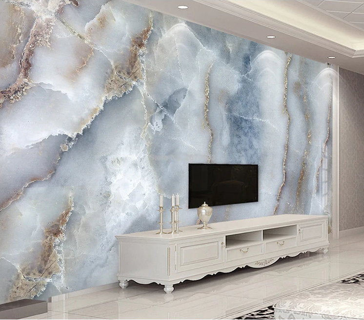 Home Design Business Ideas: Realistic Cracked Marble Wall Design Wallpaper Mural Home