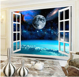 open window planet view mural