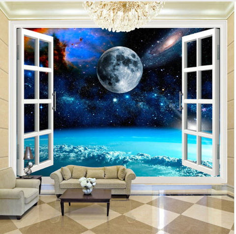 open window sky view mural