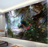 3D peacocks wall mural