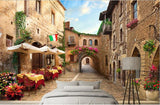 italy town street cafe wall mural