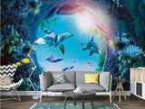 dolphins cave wall mural