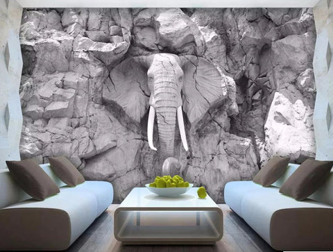 gray elephant wall mural