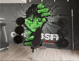 hulk breaking wall mural