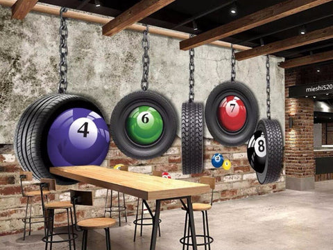 billiard balls wall mural