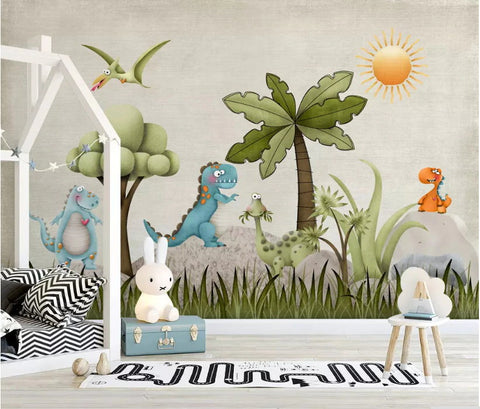 Adorable Cartoon Dinosaur Wallpaper Wall Mural for ...