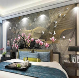 Chinese magnolia flower design wall mural