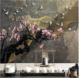 magnolia flowers and birds ink design mural