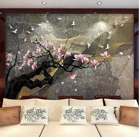 Chinese magnolia flowers ink peel and stick mural