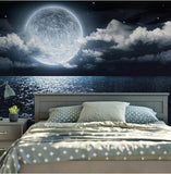 self-adhesive full moon night sky wall mural