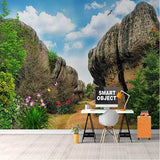 self-adhesive rock pillars nature scene wall mural