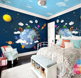 cartoon planet wall mural