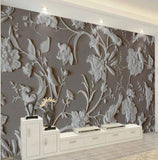 3d embossed white birds wallpaper