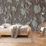 3d embossed white flowers wallpaper