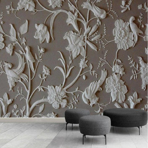 3d embossed white birds mural
