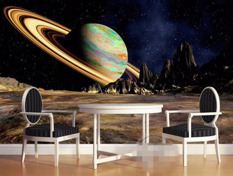 saturn planet surface mural