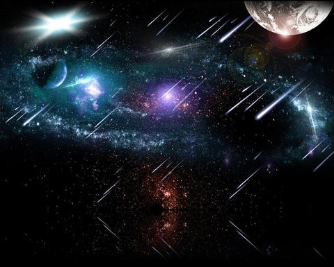 Meteor Shower Outer Space Planets Wallpaper Mural For Home