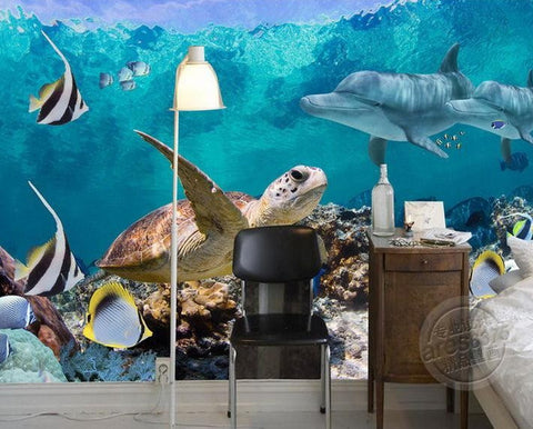 3d wallpaper underwater fish turtle dolphin wall mural for Dolphin mural wallpaper