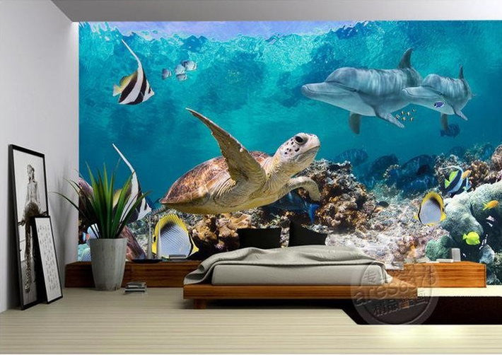 3d Wallpaper Underwater Fish Turtle Dolphin Wall Mural