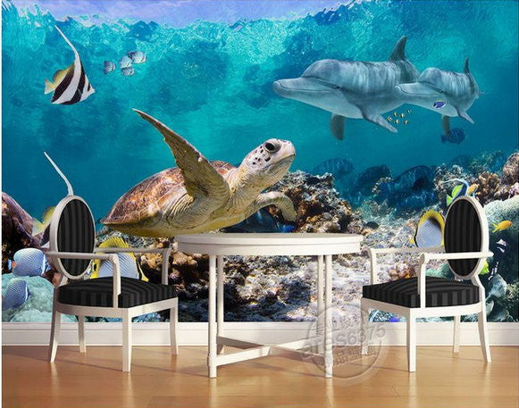 3d Wallpaper Underwater Fish Turtle Dolphin Wall Mural ...