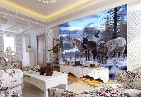 3d wallpaper snow wolves wallpaper for walls