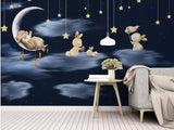 bunnies on moon wall mural