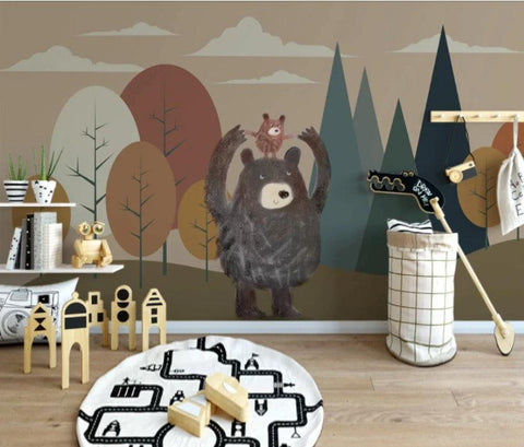 cartoon abstract bear wallpaper