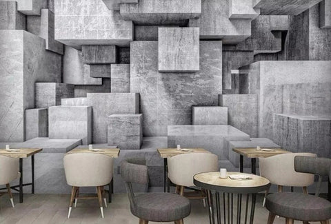 cement blocks illusion wallpaper