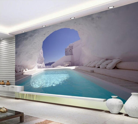 ice cave swimming pool mural
