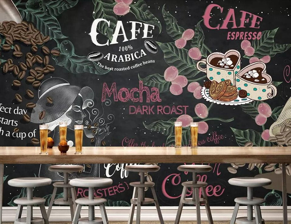 Retro Style Design for Coffee Shop Business Wallpaper Cafe ...