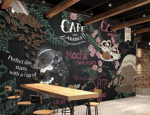 coffee shop wall mural