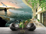 balcony seascape wall mural