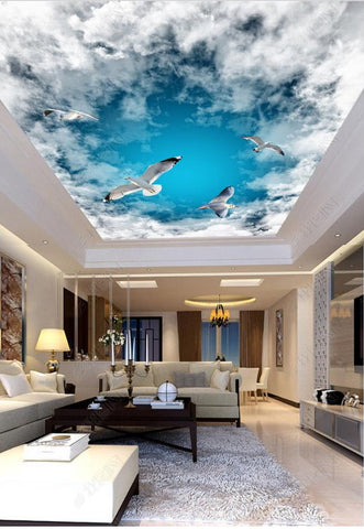 ceiling wall mural clouds seagulls