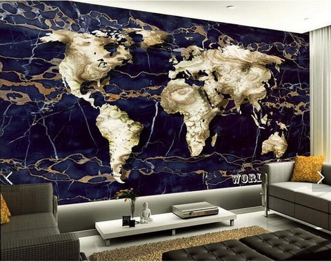 marble world map wall mural