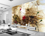 abstract floral oil painting mural