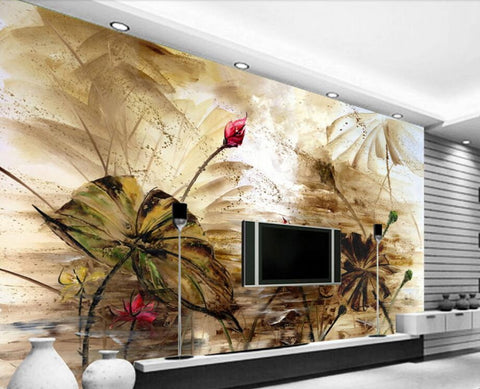 abstract flowers painting mural